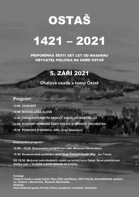 Ostaš 1421–2021: připomínka šesti set let od masakru obyvatel Policka na hoře Ostaš